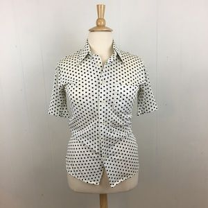 Vintage Polka Dot Button Down Top